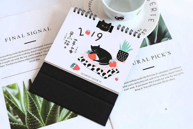 Dropwow 2019 Creative Black Cat Strawberry Calendar Diy Table