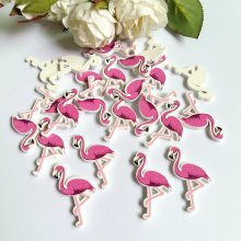 50Pcs/lot no- Holes Flamingos Wooden Buttons Sewing Scrapbooking Crafts Accessories 22*35mm