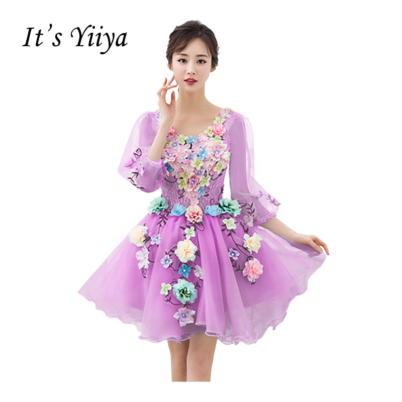 It's Yiiya New O-neck Illusion Lace Ball Gown Cocktail Dresses Flower Princess Mini Custome Made Tulle Party Formal Dress HL017
