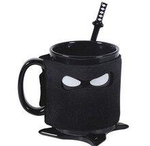 Kreative Ninja Becher Schwarze Maske Keramik Tasse Mit Löffel Schwert Kaffee Milch Tee Tassen Neuheit Geschenke