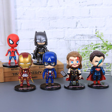 6 Pcs/set Action Figures Avengers Infinity War Endgame Marvel Hero Figure Iron Man Spiderman Thor Captain Batman avengers infinity war iron man captain america thor batman black panther with led light and sound pvc action figures toy box w86