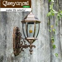 Qiseyuncai European style waterproof outdoor LED aluminum wall lamp retro 8/ 9 inches and six corners courtyard lamp