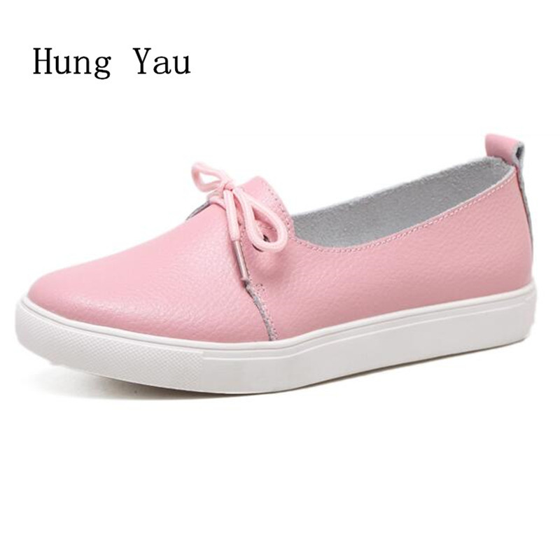 Women Shoes Flats Genuine Leather 2018 Summer Sandals Fashion Casual Shoes Woman Flat Work Lace Up Walking Loafers Plus Size forudesigns fashion women flat shoes female teens girls floral print casual flats breathable walking shoes for woman plus size