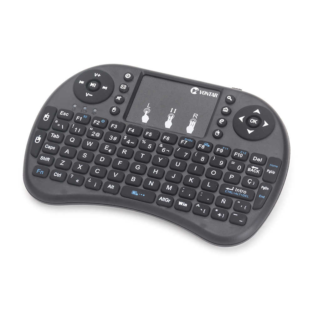 Mini I8 Toetsenbord Engels Russisch Spaans Air Mouse Multi-Media-Afstandsbediening Touchpad Handheld Voor Android Tv Box 8.1 t9 X96