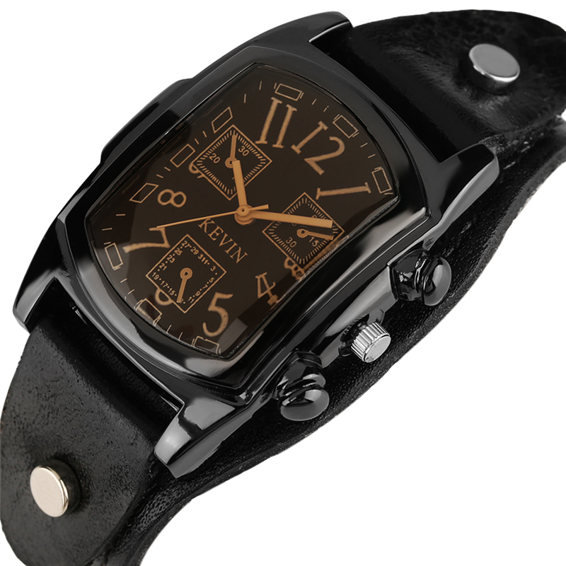 Hot Sale KEVIN Quartz Watches for Men Creative Arabic Number Rectangle Dial Leather Band Strap Male Clock Fashion Gifts