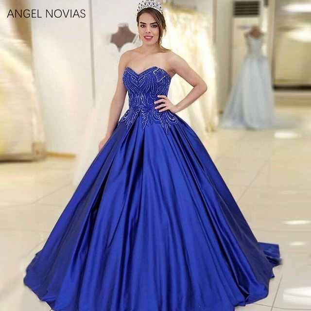 ee974fa5f3b7c Long Ball Gown Plus Size Royal Blue Princess Prom Dress 2018 Crystals Evening  Gown Party Dress