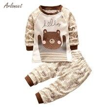 ARLONEET/Лидер продаж; осенне-зимняя одежда для новорожденных; одежда для маленьких девочек и мальчиков; детская одежда с длинными рукавами; комплект одежды из 2 предметов с милым рисунком гризли