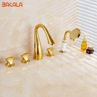 BAKALA Contemporary Widespread 5pieces set faucet Centerset Gold Bathroom Sink Faucet Lavatory Vanity Faucet PVD Gold GZ8201K