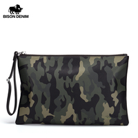 BISON DENIM Genuine Leather Wallet Men camouflage Large capacity Male Coin Purse Clutch Cowskin Phone Wallet Card Holder N8141