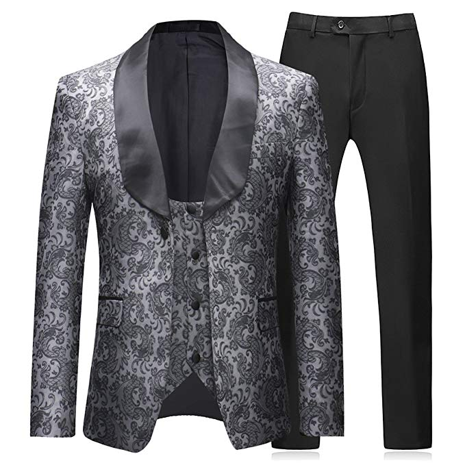 Terno Mens Suit 3 Pieces Tuxedos Vintage Groomsmen Wedding Suit Prom Formal Tuxedo(Jackets+Vest+Trousers) Costume Homme Mariage