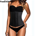 Feelingirl mulheres látex látex cintura cincher cintura espartilhos cinto 4 aço desossado cintura instrutor fajas borracha body shaper-e3