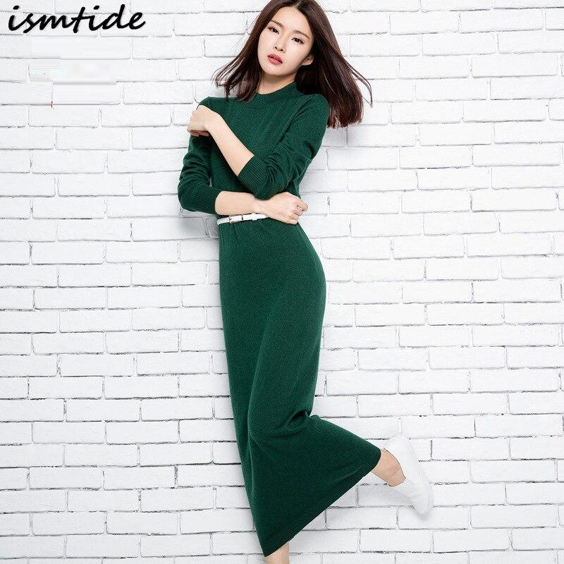 Ismtide New Sweater Dress Autumn And Winter Sexy Long Dress Soft Feminine Long Turtleneck Collar Maxi Women Cashmere Dresses