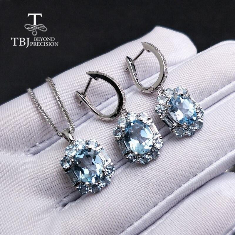 TBJ, ensemble de bijoux en topaze bleu ciel naturel en argent sterling 925 élégant pendentif spécial boucle d'oreille pour femme dame comme cadeau
