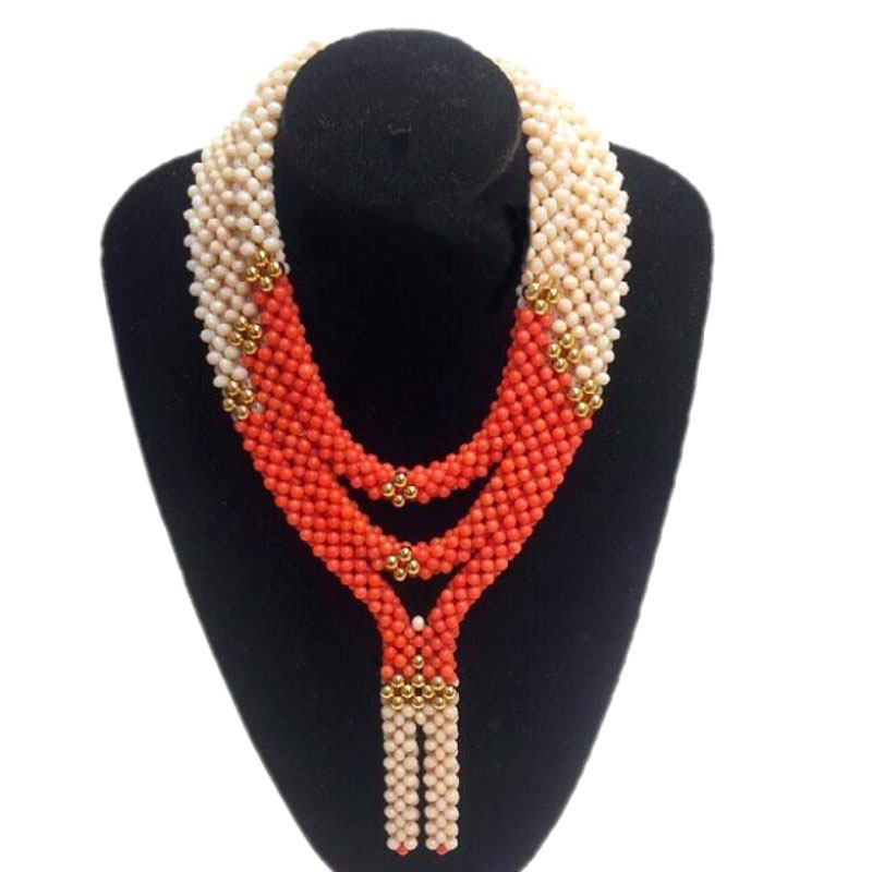 Nigerian Bridal Jewelry Sets for Women Beige and Orange 3 Layers Heart Dubai Wedding jewellery Set 2018 Fashion necklace Set stonefans rosered dubai jewelry sets for women in nigerian wedding set prom necklace rhinestone necklace and earing sets wedding