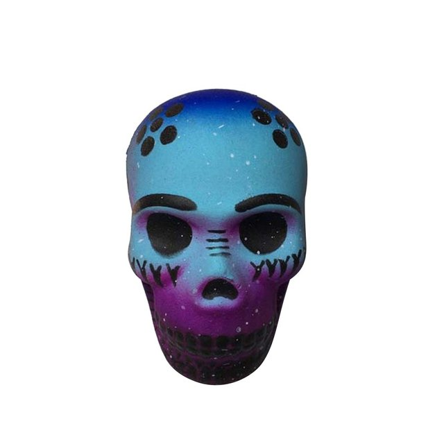8.5CM Squishy Toy Halloween Skull Head Slow Rising Soft Colorful Squeeze Bread Cake Kid Christmas Toy Gift Anti-Stress SquishyStress Relief Toy