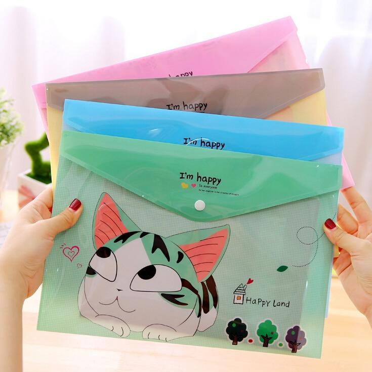 1Pcs New Cute Cheese Cat PVC A4 File Folder Document Filing Bag Stationery  Gift H2350