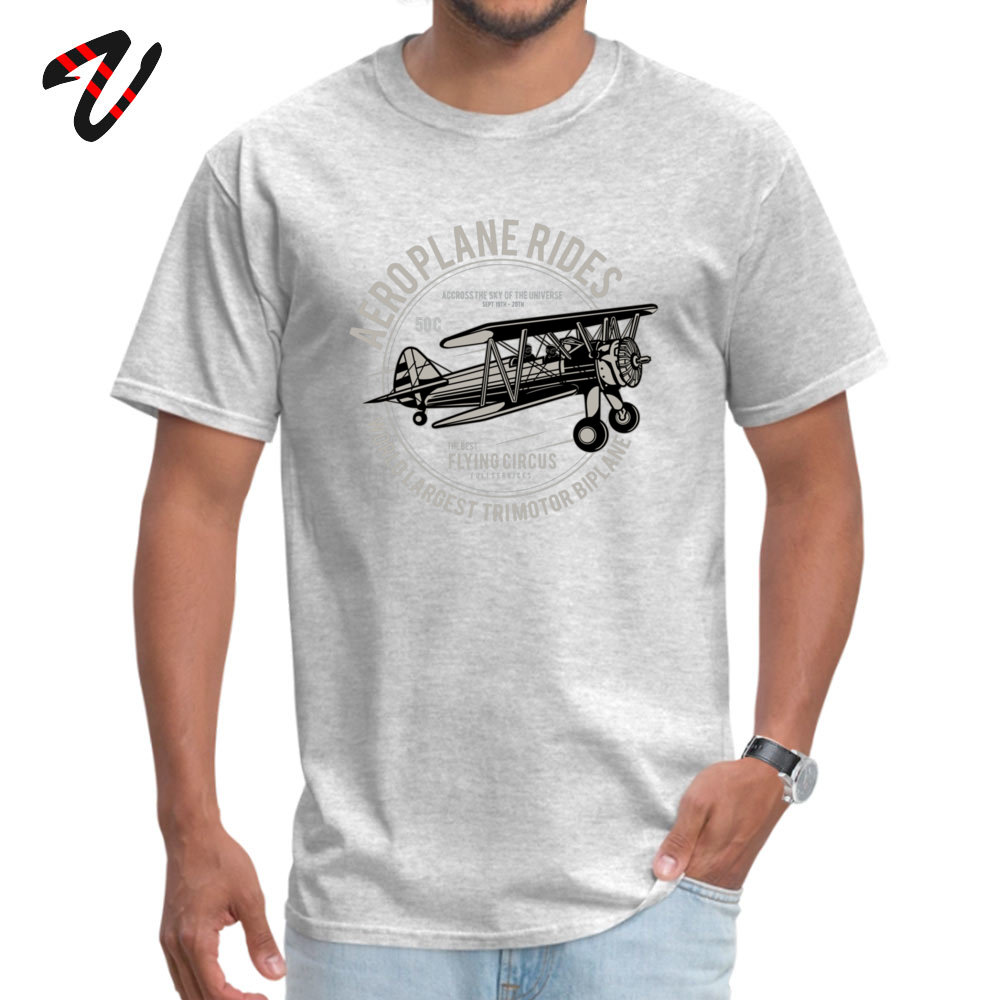 Casual cosie Short Sleeve Tops T Shirt April FOOL DAY Crew Neck 100% Cotton Men's T Shirts cosie Top T-shirts Plain Airplane Rides The Best Flying Circus 3045 grey