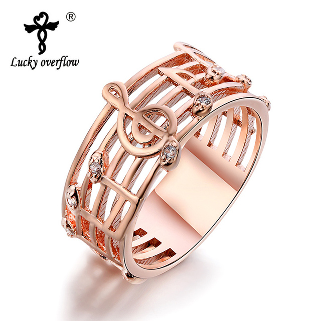 Hot 2018 Hollow Music Design S Gold Silver Plated Rings Wedding Musical Ring Fashion