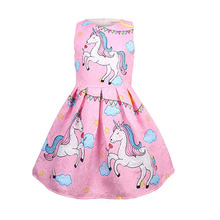 Summer Baby girl clothes unicorn for Girls Halloween costume birthday Party Vestidos 8618