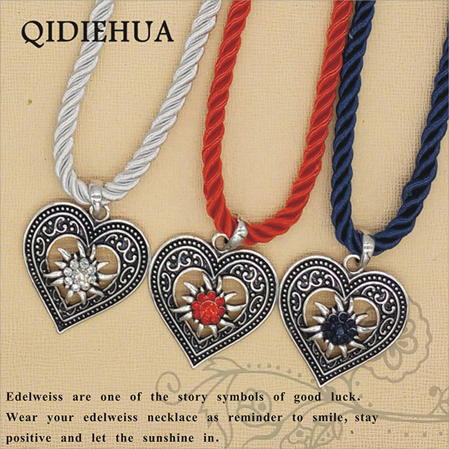 Fashion Love Heart Necklaces Pendants Silver Edelweiss Oktoberfest Statement Necklace Woman Rhinestone Charm Milan Rope Choker