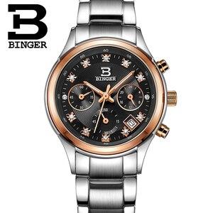 Image 4 - Relojes de pulsera Suiza Binger de lujo de cuarzo a prueba de agua reloj completo de acero inoxidable cronógrafo relojes de pulsera BG6019 W3