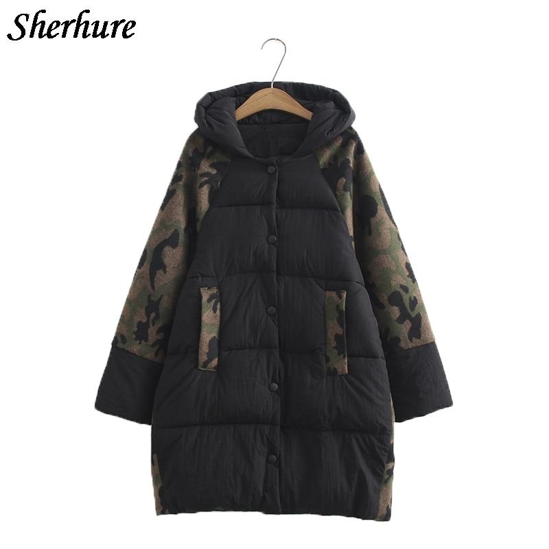 2017 New Women Camouflage Winter Warm Long Down Coat Plus Size 6XL Long Sleeve Overcoat Female Loose Hooded Jacket Cotton Coat
