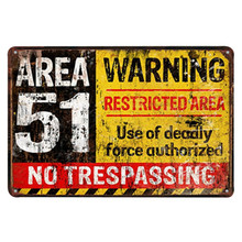 AREA 51 NO TRESPASSING Rustic Warning Sign Metal Wall Plaques Horror Rectangle Tin Home Art decoration Caution Letter 20x30cm