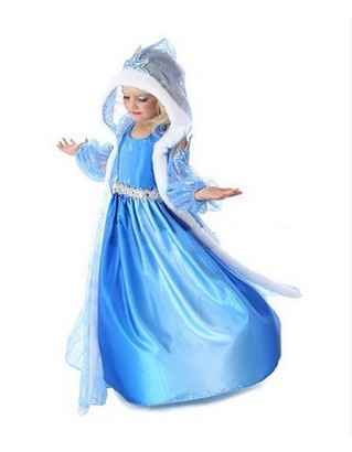 Free shipping 2016 top quality baby toddler girl dress princess beautiful  anna elsa fever for 4 year to 10