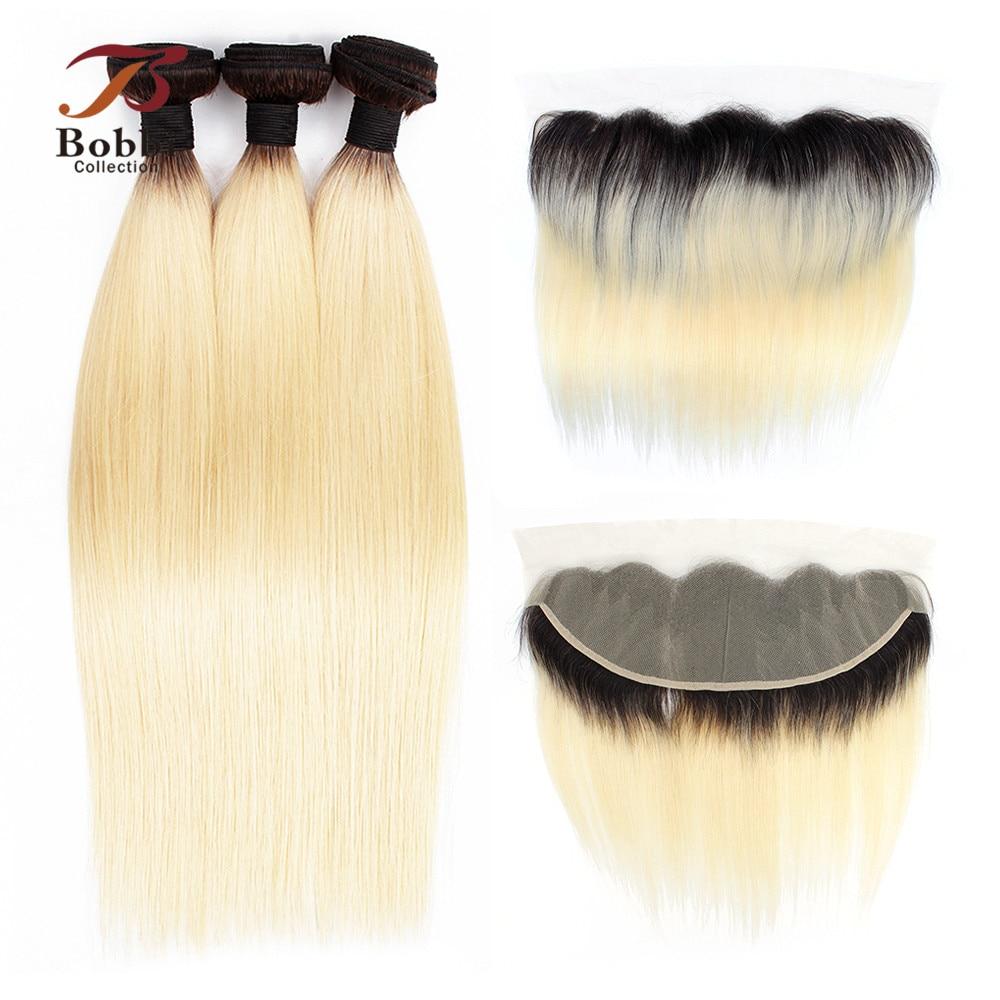 BOBBI COLLECTION Dark Root Platinum Blonde 1B 613 Bundles With Frontal Brazilian Remy Straight Human Hair