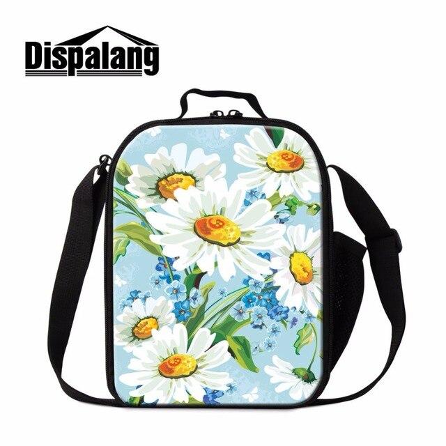 Dispalang fashion floral painting kids lunch bag picnic cooler lunch box for children food bag for family cooler bag meal bag