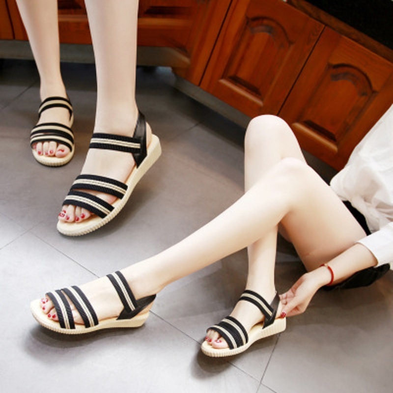 2018 summer new elastic cloth striped sandals women's flat low-heeled student shoes 4