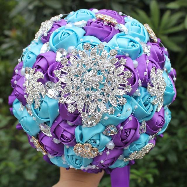 New Arrival Can Choose Color Crystal Beaded Wedding Flowers Bouquet Bridesmaid Bride Bridal Brooch Bouquet New Buque De Noiva