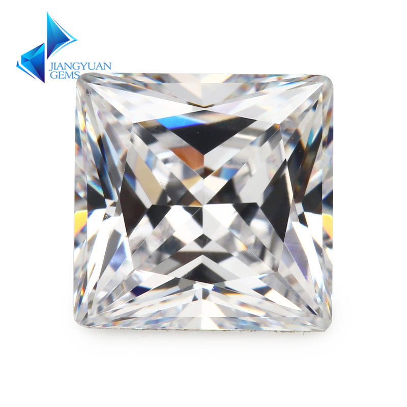 حجم 1.5x1.5 ~ 12x12 ملليمتر مربع الشكل الأميرة قص 5a الأبيض تشيكوسلوفاكيا ستون الأحجار الكريمة الاصطناعية زركون للمجوهرات