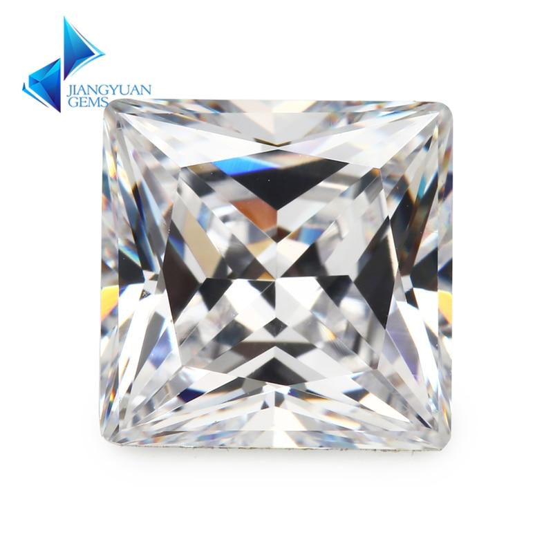 आकार 1.5x1.5 ~ 12x12 मिमी वर्ग आकार राजकुमारी कट 5A सफेद जेड पत्थर सिंथेटिक रत्न आभूषण के लिए घन Zirconia