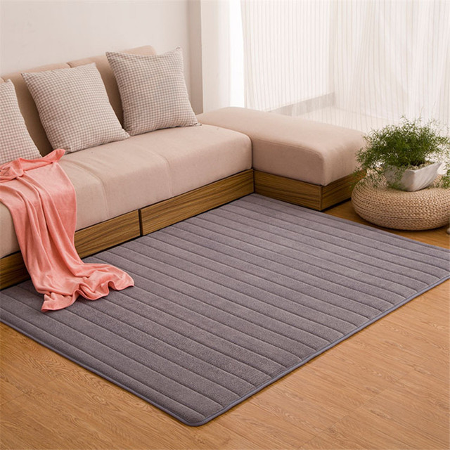 Bedroom Living Room Rugs 150*200 Solid Stripe Carpet Coral Velvet Carpet Quilted Area Rug Morden Carpet M Large Rugs