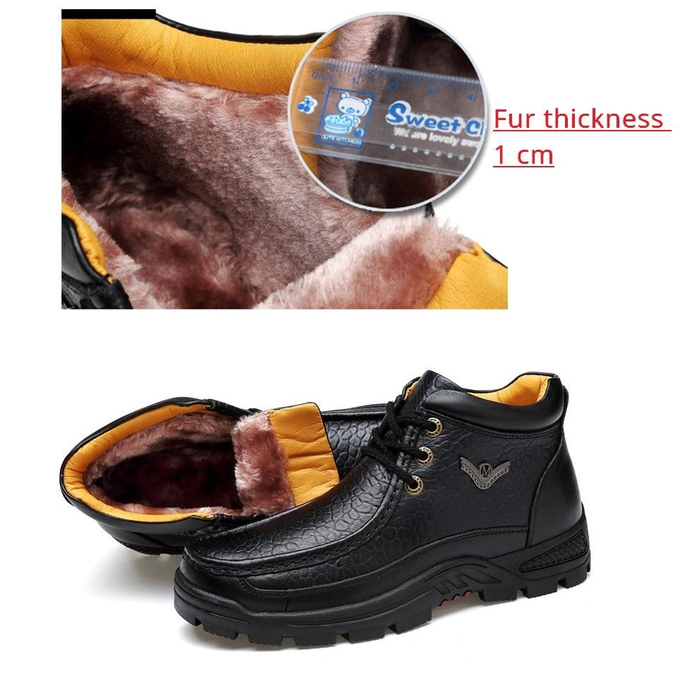Boot Boots brown Bota Sapatos Ankle Neve Negócios Do Couro Peles Walkerpeak Inverno Da Black Quente Homens Genuíno De Up Lace Trabalho Pelúcia Boot Masculinos Dos B5nnqxFg6