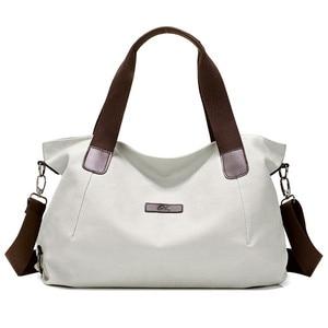 Image 3 - KVKY Large Capacity Womens Canvas Handbag Casual Canvas Shoulder Bags Vintage Crossbody Messenger Bags Female Tote Bags Trapeze