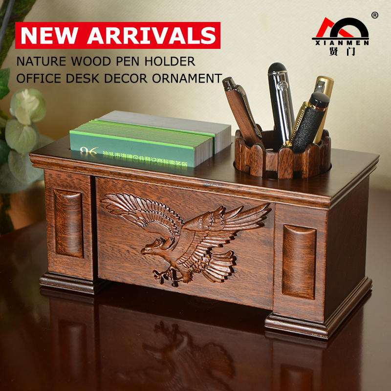 XIANMEN Pen Holder New Solid Wood High Quality Office Desk Decor Ornaments Desktop Organizer Name Cards Holder Pencil Container