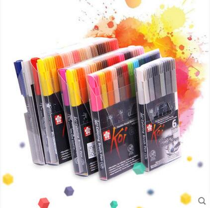 Japan SAKURA Water Marker Soft head 24/ 48 Color Painting Set Adult Painting Comics Coloring Brush Pen watercolor
