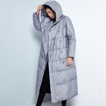 LYNETTE'S CHINOISERIE 2016 Winter Original Design Women Brief Loose X-long Hooded White Duck Down Coat Jackets Outerwear