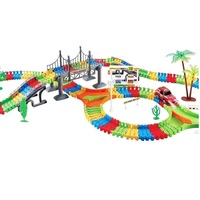 360pcs 2 car Track Miraculous Shiny Track Curve Flex Flash Car Racing Track Set of Dark Glow Coaster Toy hot wheel Set kid Gifts