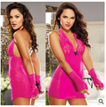 2016 New Women's Sexy Lingerie Black Red slip  with Handcuff ladies lace slips Plus size M- XXXL