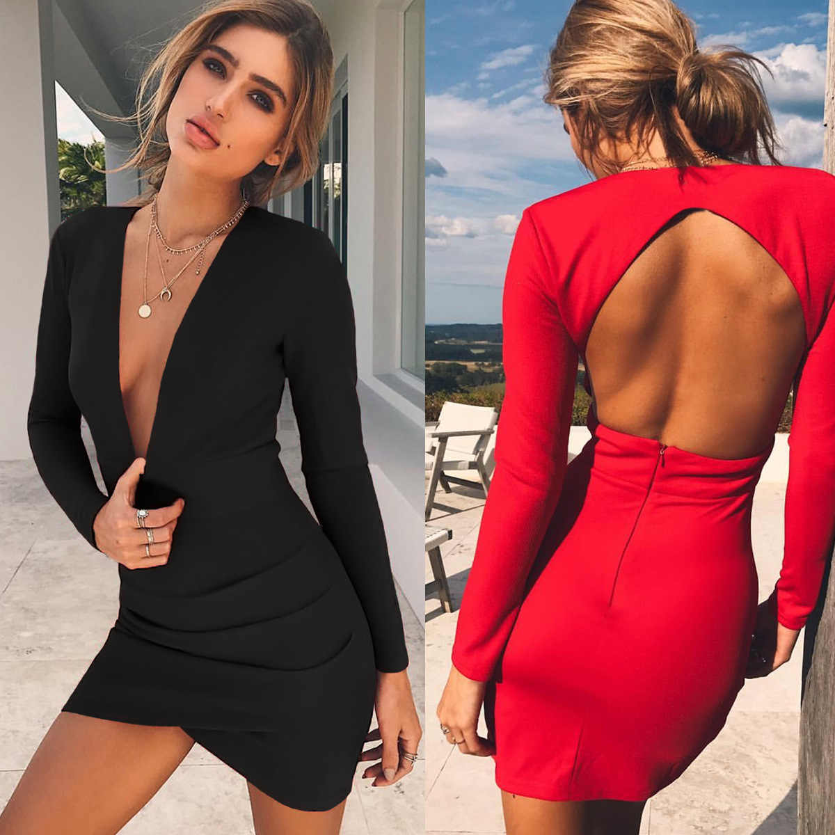 1138e9073bd Sexy Deep V Neck Low-cut Backless Dress Bodycon Women Tights Red Black Long  Sleeve