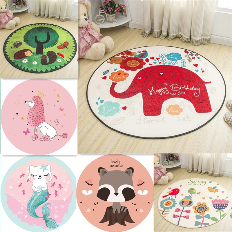White Pink Cartoon Elephant Hedgehog Round Carpet Soft Kids Play Mat Bedroom Living Room Floor Play Crawling Area Rug Home Decor