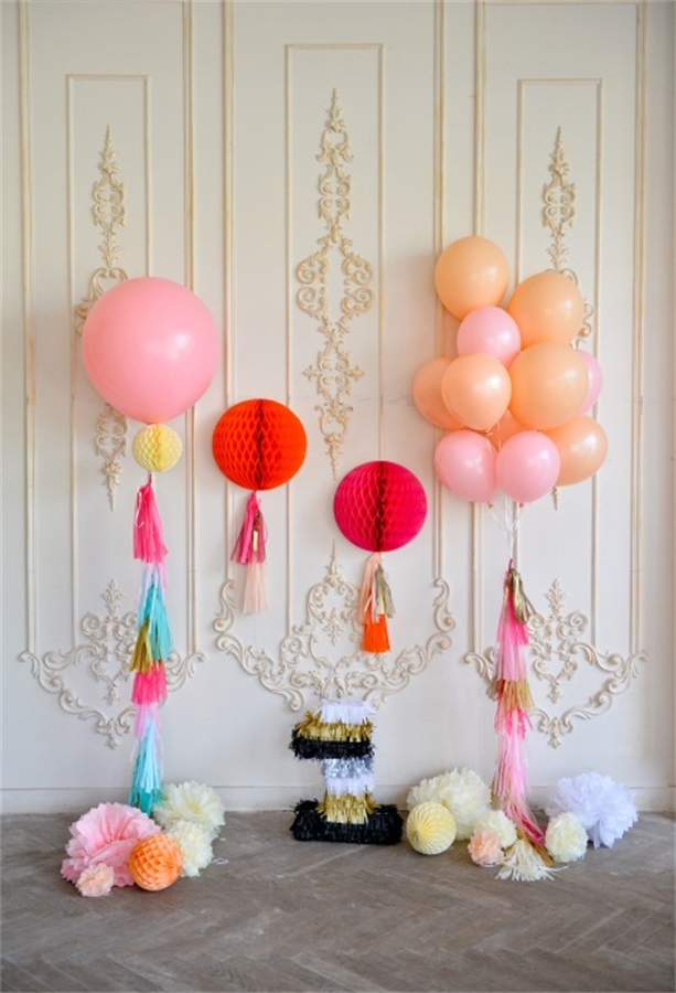 Laeacco Chic Wall Balloons 1 Year Old Birthday Baby