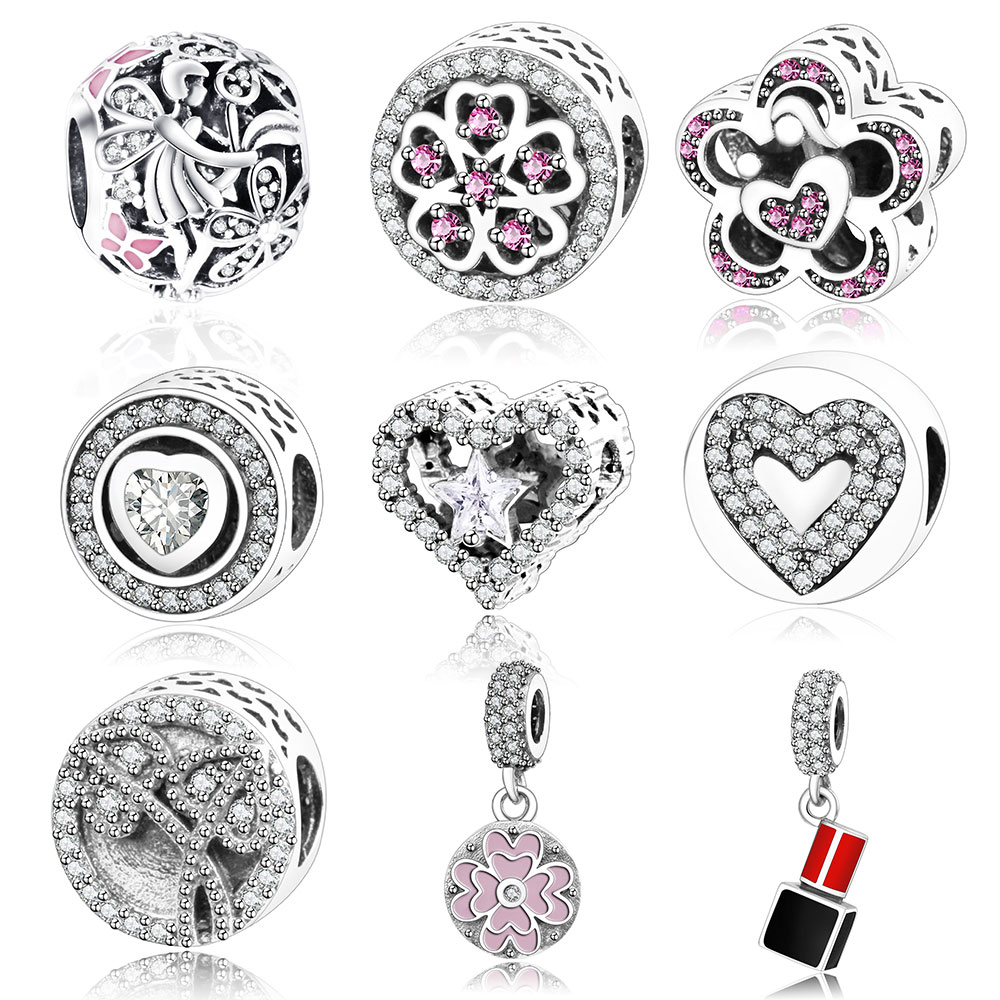 925 Sterling Silver Angel Flower Charm Fit Original Pandora Charm Bracelet Pink Enamel Dazzling Daisy Fairy Beads DIY Berloque