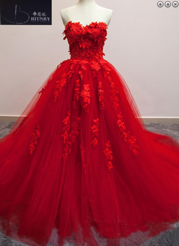 Real Photos Red Wedding Dress Sweetheart A Line Princess Color Wedding Dresses Tulle Bridal Dresses 2017