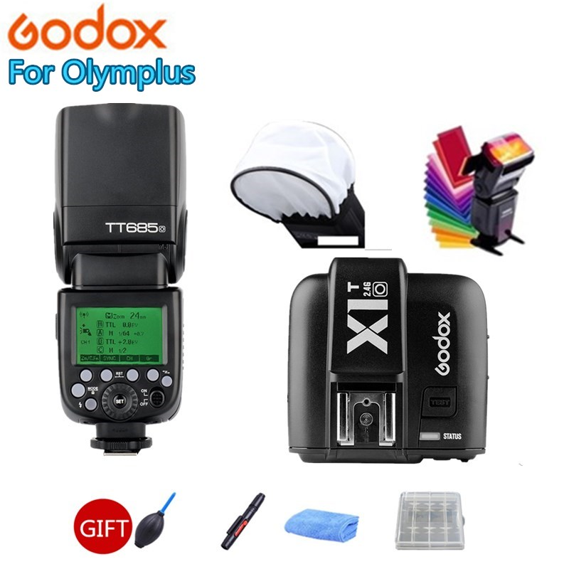 Godox TT685O 2.4G HSS 1/8000s TTL II GN60 Camera Flash Speedlite + X1T-O Transmitter + Softbox for Panasonic Olympus +Gift Kit in stock godox tt685o x1t o transmitter 2 4g hss 1 8000s ttl ii gn60 camera flash speedlite for panasonic olympus gift kit