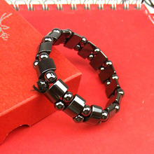 12 Knots Weight Loss Round Black Stone Magnetic Therapy Bracelet for Women Men Health Care Hematite Stretch Bracelets