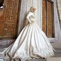 Vestido Noiva Мусульманин Свадебное Платье 2017 Длинные Рукава Аппликация Свадебное Платье Атласная Бальное платье Свадебные Платья Халат Де Mariage